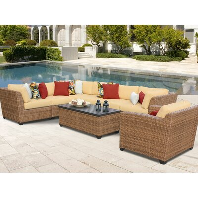 Laguna 8 Piece Sectional Seating Group with Cushion Fabric: Sesame