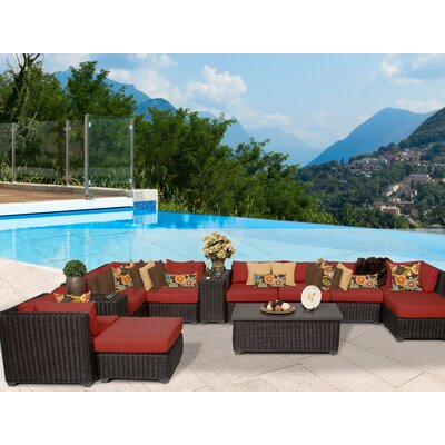 Venice 13 Piece Sectional Seating Group with Cushion Fabric: Terracotta