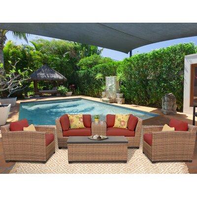 Laguna 6 Piece Deep Seating Group with Cushion Fabric: Terracotta
