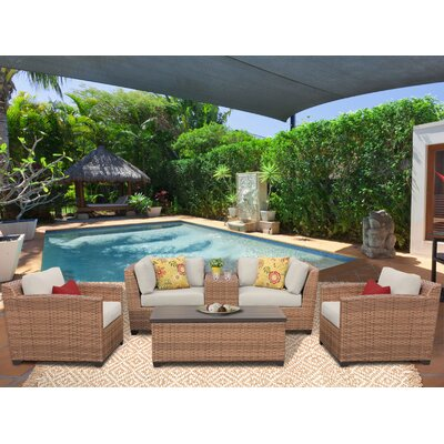 Laguna 6 Piece Deep Seating Group with Cushion Fabric: Beige