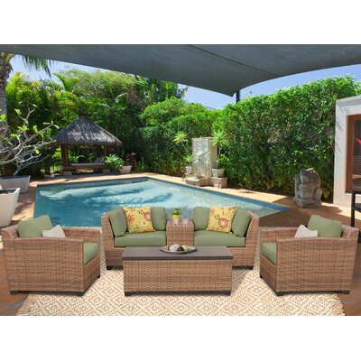 Laguna 6 Piece Deep Seating Group with Cushion Fabric: Cilantro