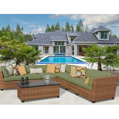 Laguna 8 Piece Sectional Seating Group with Cushion Fabric: Cilantro