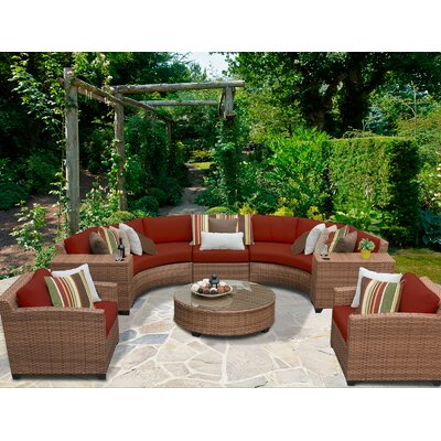Laguna 8 Piece Sectional Seating Group with Cushion Fabric: Terracotta