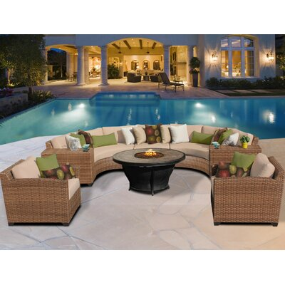 Laguna 8 Piece Sectional Seating Group with Cushion Fabric: Wheat