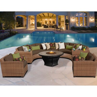Laguna 8 Piece Fire Pit Seating Group with Cushion Fabric: Cocoa