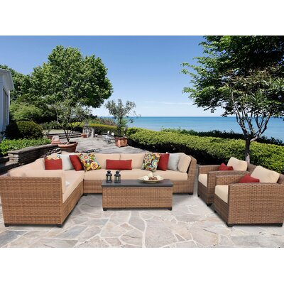 Laguna 10 Piece Sectional Seating Group with Cushion Fabric: Wheat