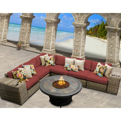 Cape Cod 9 Piece Fire Pit Seating Group with Cushion Fabric: Terracotta
