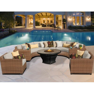 Laguna 8 Piece Fire Pit Seating Group with Cushion Fabric: Beige