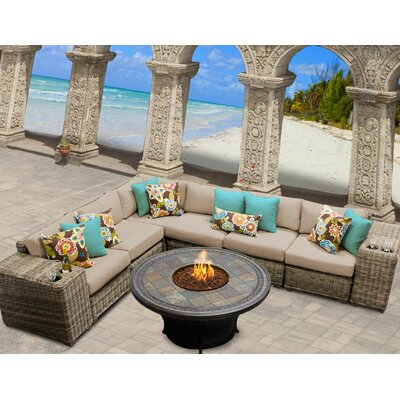 Cape Cod 9 Piece Fire Pit Seating Group with Cushion Fabric: Wheat