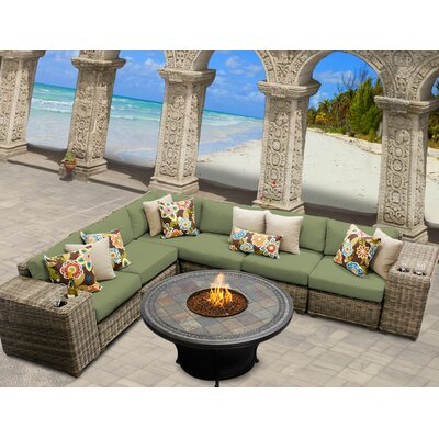 Cape Cod 9 Piece Fire Pit Seating Group with Cushion Fabric: Cilantro