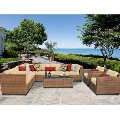 Laguna 10 Piece Sectional Seating Group with Cushion Fabric: Sesame
