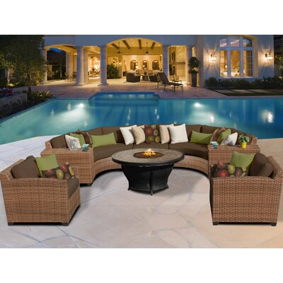 Laguna 8 Piece Fire Pit Seating Group with Cushion Fabric: Cilantro
