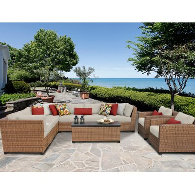 Laguna 10 Piece Sectional Seating Group with Cushion Fabric: Beige