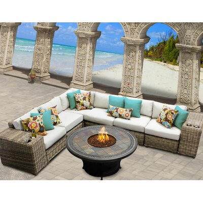Cape Cod 9 Piece Fire Pit Seating Group with Cushion Fabric: Beige