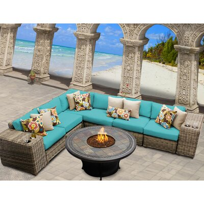 Cape Cod 9 Piece Fire Pit Seating Group with Cushion Fabric: Aruba