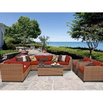 Laguna 10 Piece Sectional Seating Group with Cushion Fabric: Terracotta