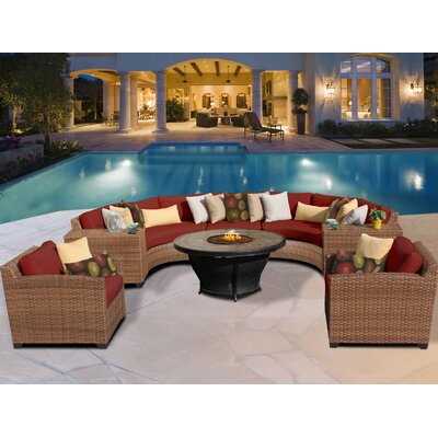 Laguna 8 Piece Fire Pit Seating Group with Cushion Fabric: Terracotta