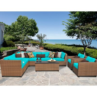 Laguna 10 Piece Sectional Seating Group with Cushion Fabric: Aruba