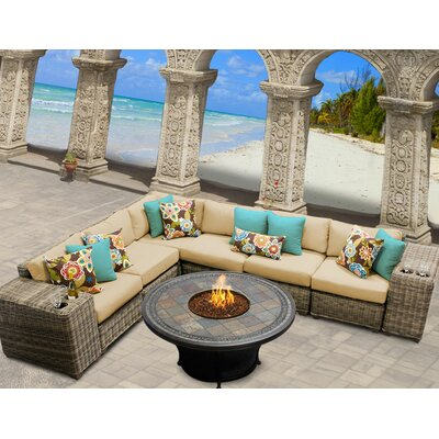 Cape Cod 9 Piece Fire Pit Seating Group with Cushion Fabric: Sesame