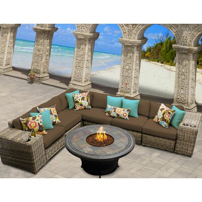Cape Cod 9 Piece Fire Pit Seating Group with Cushion Fabric: Cocoa