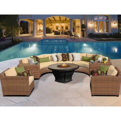 Laguna 8 Piece Fire Pit Seating Group with Cushion Fabric: Sesame