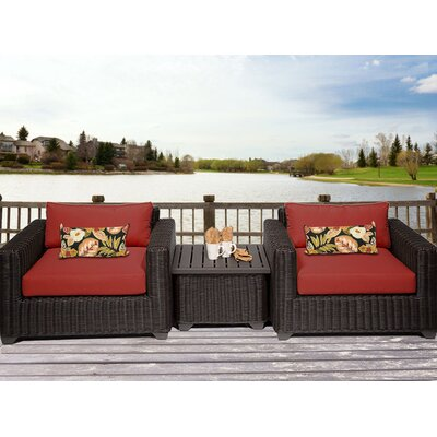 Venice 3 Piece Deep Seating Group with Cushion Fabric: Terracotta