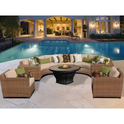 Laguna 8 Piece Fire Pit Seating Group with Cushion Fabric: Wheat