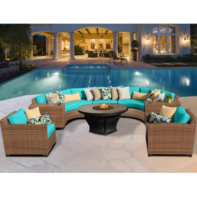 Laguna 8 Piece Fire Pit Seating Group with Cushion Fabric: Aruba