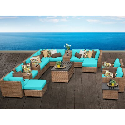 Laguna 17 Piece Sectional Seating Group with Cushion Fabric: Navy