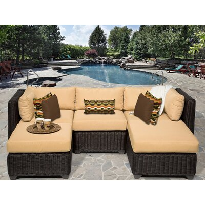 Venice 5 Piece Sectional Seating Group with Cushion Fabric: Sesame