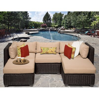 Venice 5 Piece Sectional Seating Group with Cushion Fabric: Wheat