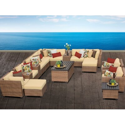 Laguna 17 Piece Sectional Seating Group with Cushion Fabric: Sesame