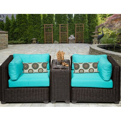 Venice 3 Piece Deep Seating Group with Cushion Fabric: Aruba