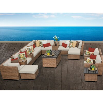 Laguna 17 Piece Sectional Seating Group with Cushion Fabric: Beige
