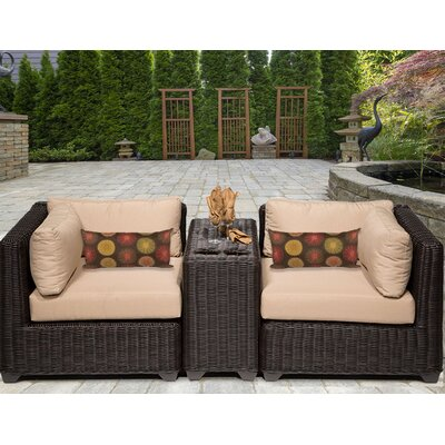 Venice 3 Piece Deep Seating Group with Cushion Fabric: Wheat