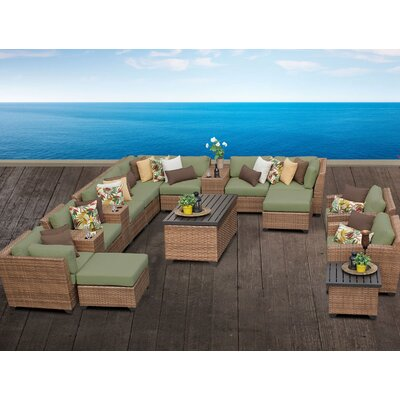 Laguna 17 Piece Sectional Seating Group with Cushion Fabric: Cilantro