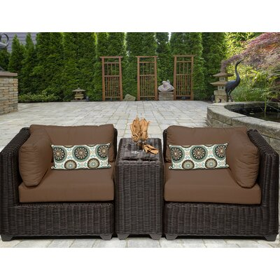 Venice 3 Piece Deep Seating Group with Cushion Fabric: Cocoa