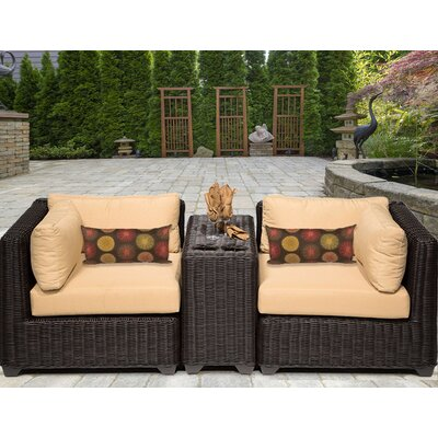 Venice 3 Piece Deep Seating Group with Cushion Fabric: Sesame
