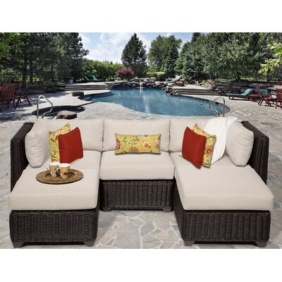 Venice 5 Piece Sectional Seating Group with Cushion Fabric: Beige