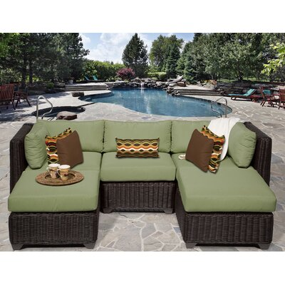 Venice 5 Piece Sectional Seating Group with Cushion Fabric: Cilantro