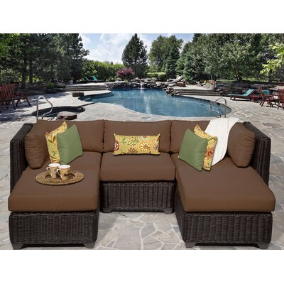 Venice 5 Piece Sectional Seating Group with Cushion Fabric: Cocoa