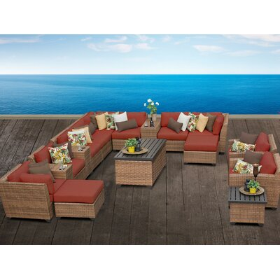 Laguna 17 Piece Sectional Seating Group with Cushion Fabric: Terracotta