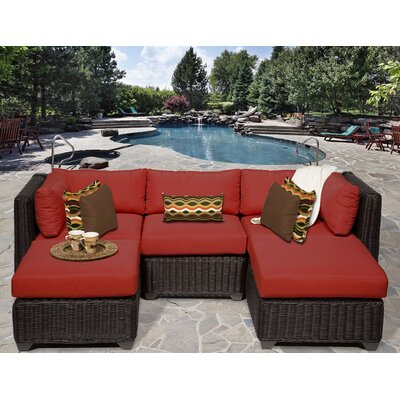 Venice 5 Piece Sectional Seating Group with Cushion Fabric: Terracotta