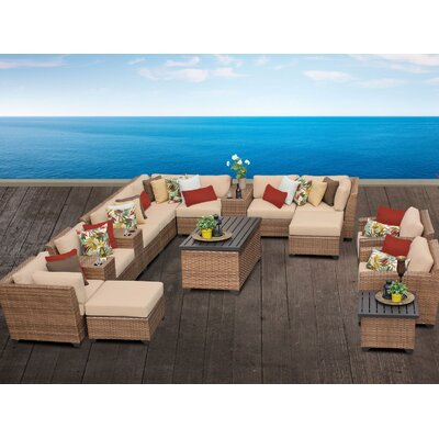 Laguna 17 Piece Sectional Seating Group with Cushion Fabric: Wheat