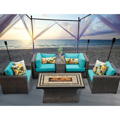 Venice 6 Piece Fire Pit Seating Group with Cushion Fabric: Aruba