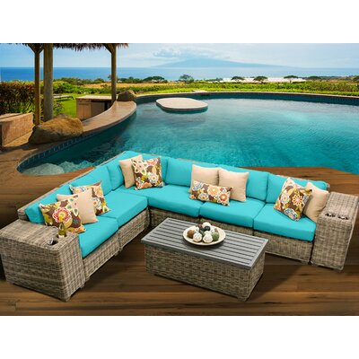 Cape Cod 9 Piece Sectional Seating Group with Cushion Fabric: Aruba