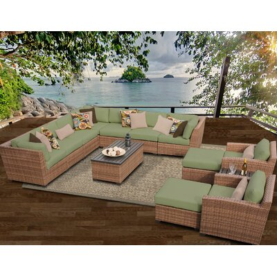 Laguna 13 Piece Sectional Seating Group with Cushion Fabric: Cilantro