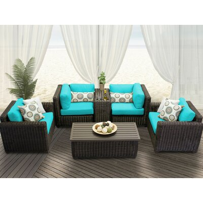 Venice 6 Piece Deep Seating Group with Cushion Fabric: White