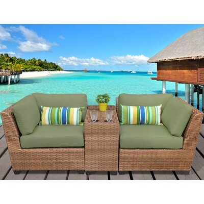 Laguna 3 Piece Lounge Seating Group with Cushion Fabric: Cilantro