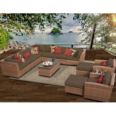 Laguna 13 Piece Sectional Seating Group with Cushion Fabric: Cocoa